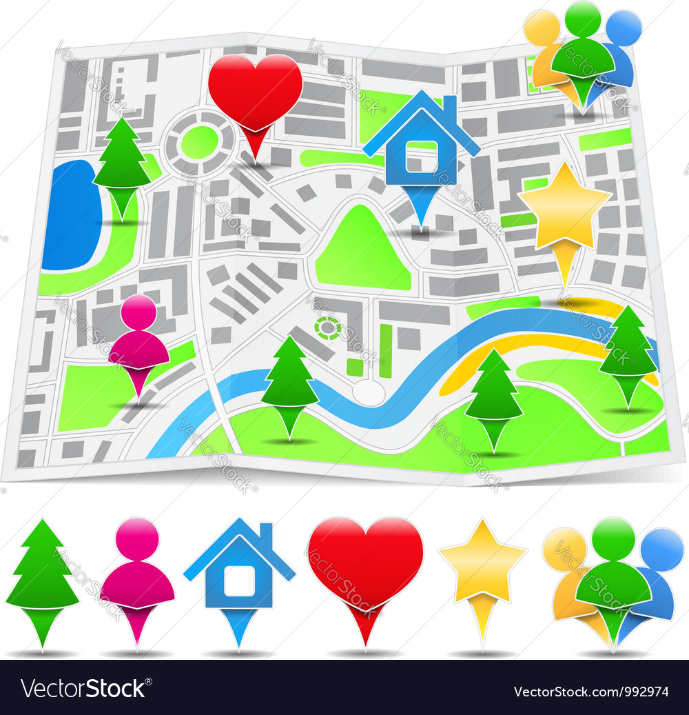 Abstract map with map markers vector   Price: 1 Credit (USD $1)