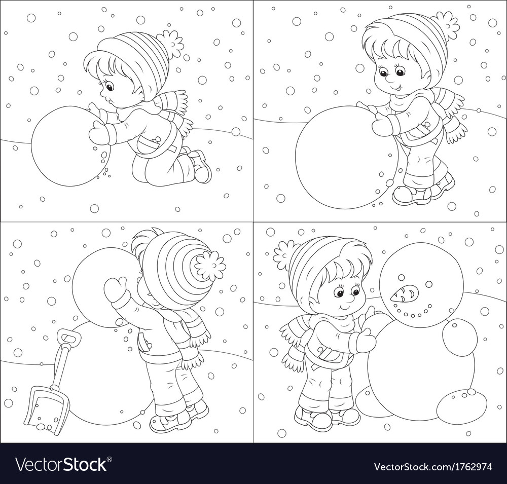 Child makes a snowman vector | Price: 1 Credit (USD $1)