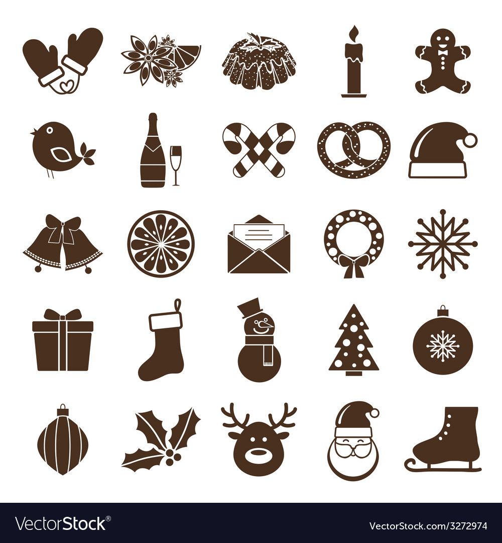 Christmas silhouettes icons vector | Price: 1 Credit (USD $1)