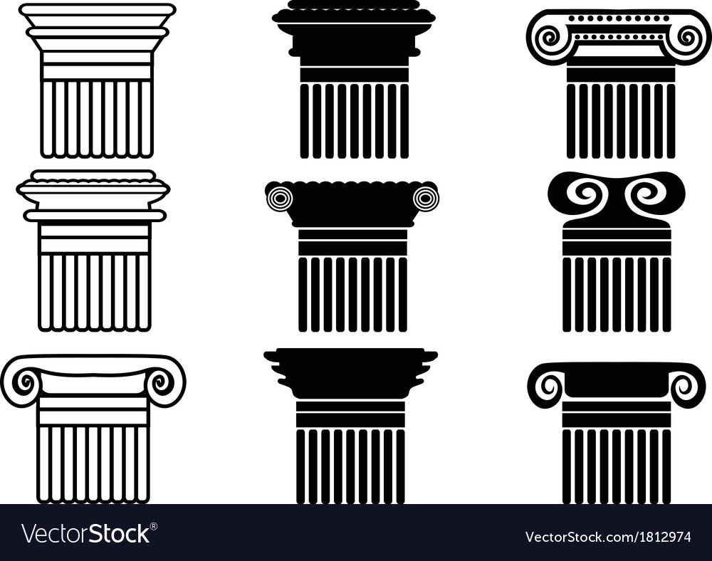 Column icons set vector | Price: 1 Credit (USD $1)
