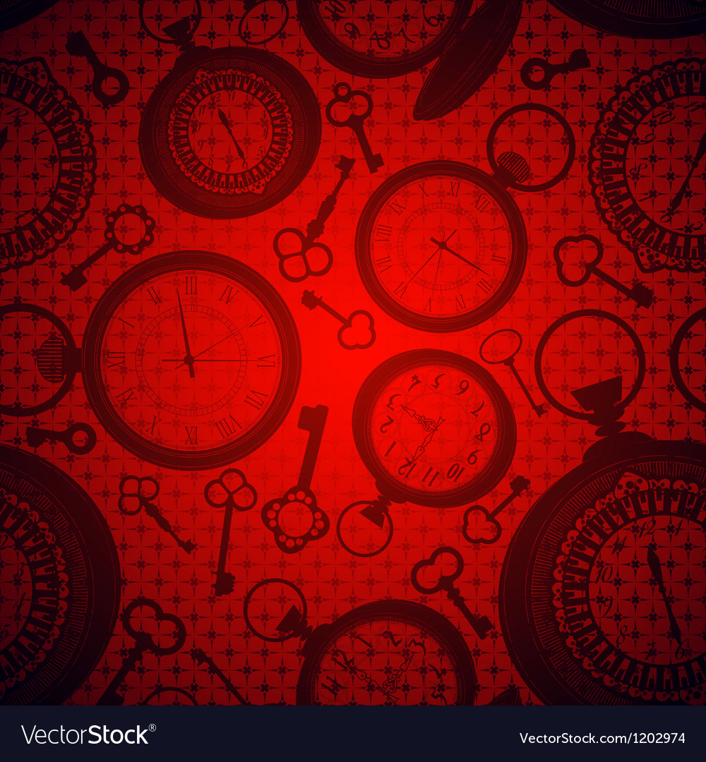 Deep red background with clocks and keys vector | Price: 1 Credit (USD $1)