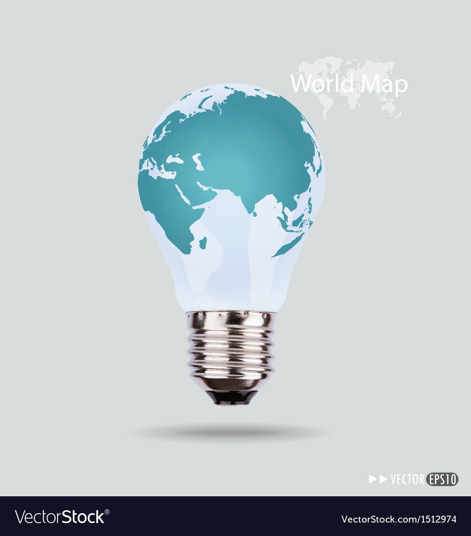 Electric light bulb with a world map vector | Price: 1 Credit (USD $1)