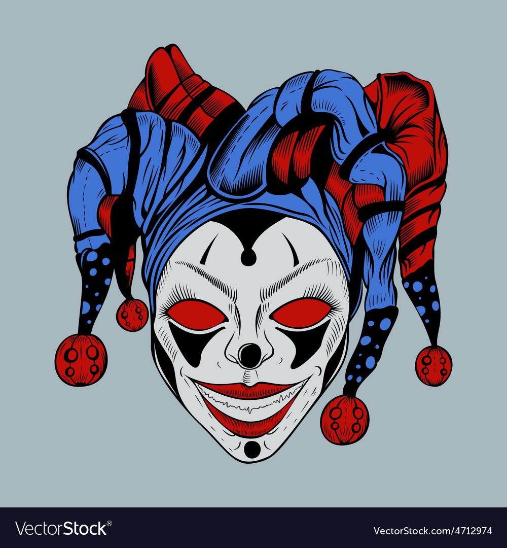 Evil clown in colored cap vector   Price: 3 Credit (USD $3)