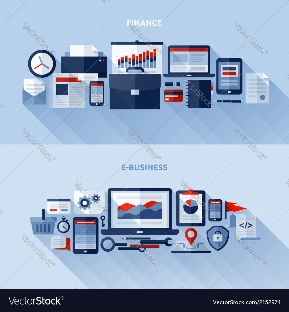 Flat design elements of finance and e-business vector | Price: 1 Credit (USD $1)