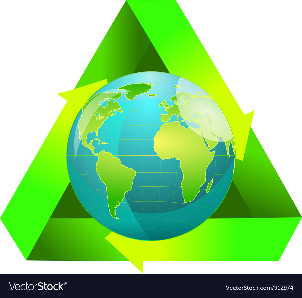 Globe wiht recycling symbol vector | Price: 1 Credit (USD $1)