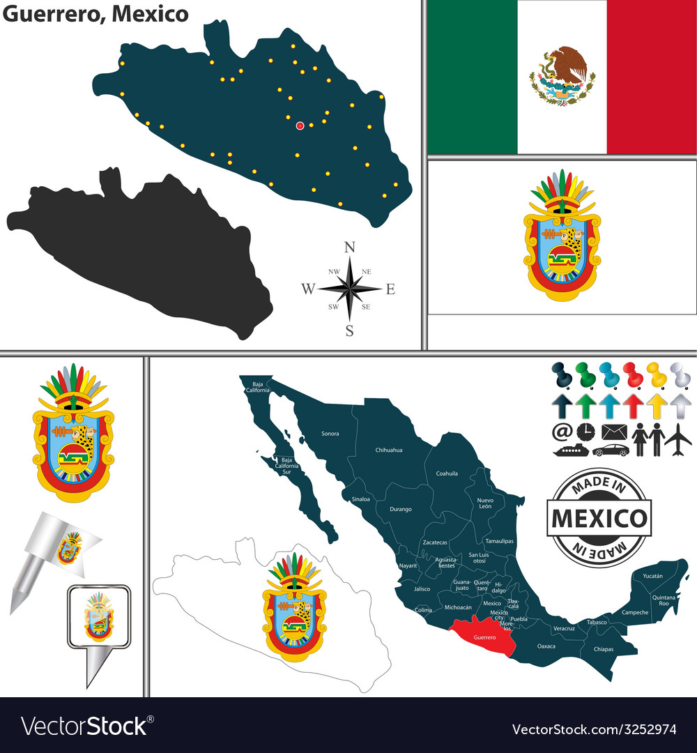 Map of guerrero vector | Price: 1 Credit (USD $1)