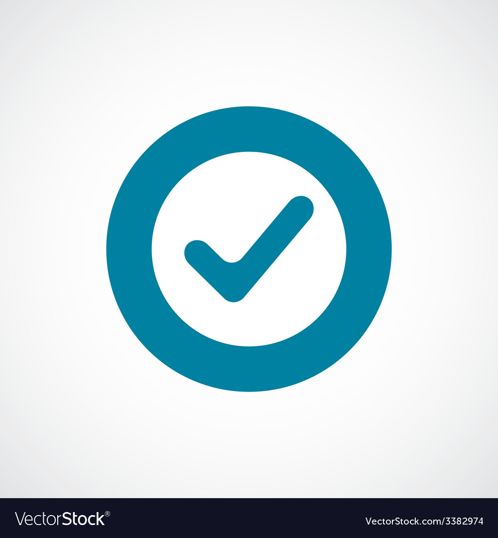 Ok bold blue border circle icon vector | Price: 1 Credit (USD $1)