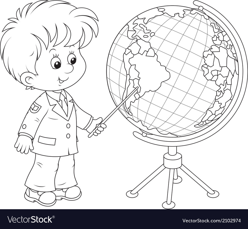 Schoolboy and globe vector | Price: 1 Credit (USD $1)