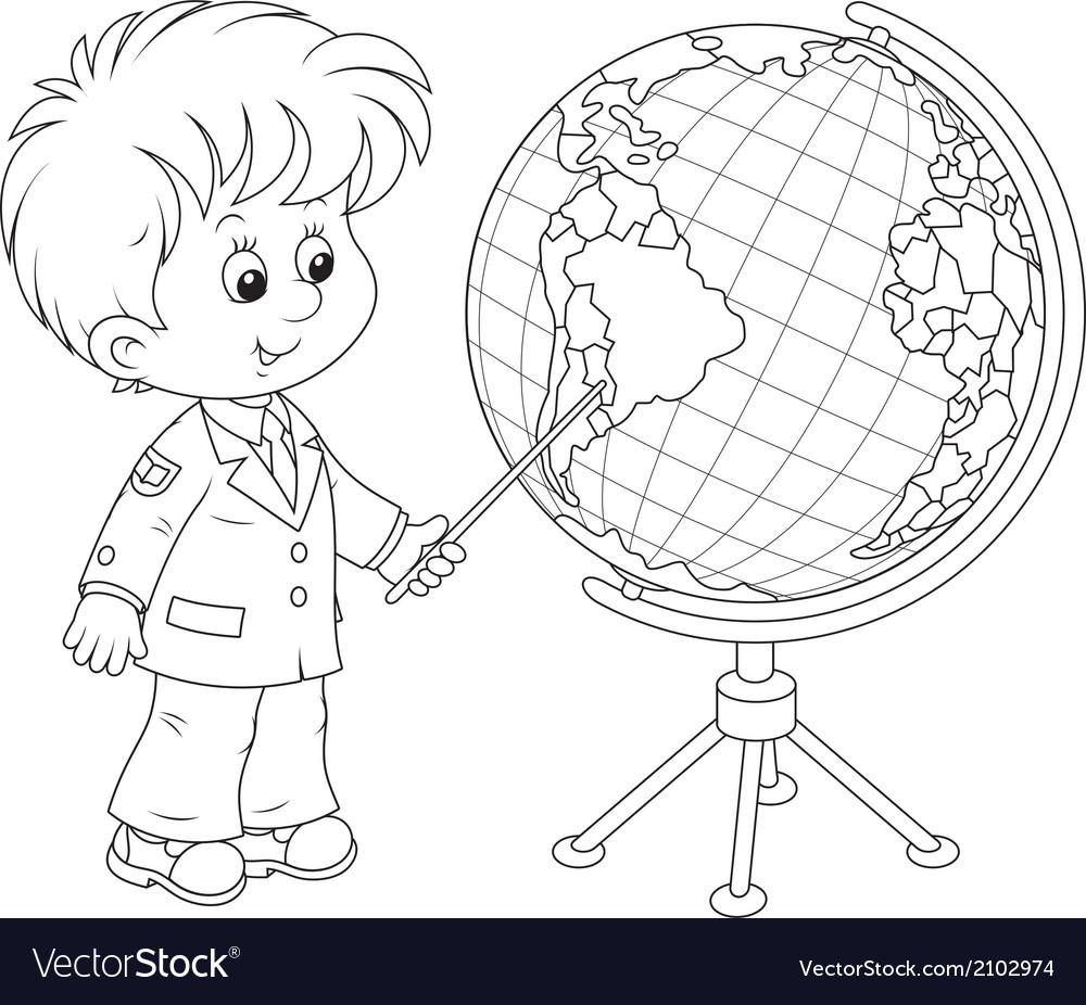 Schoolboy and globe vector | Price: 1 Credit (USD $1)
