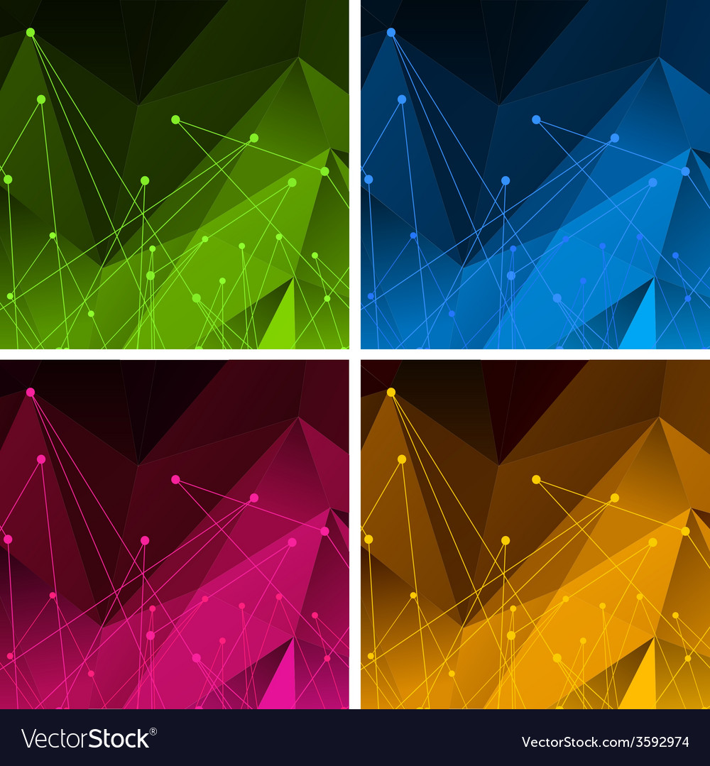 Set of backgrounds with color polygonal abstract vector | Price: 1 Credit (USD $1)