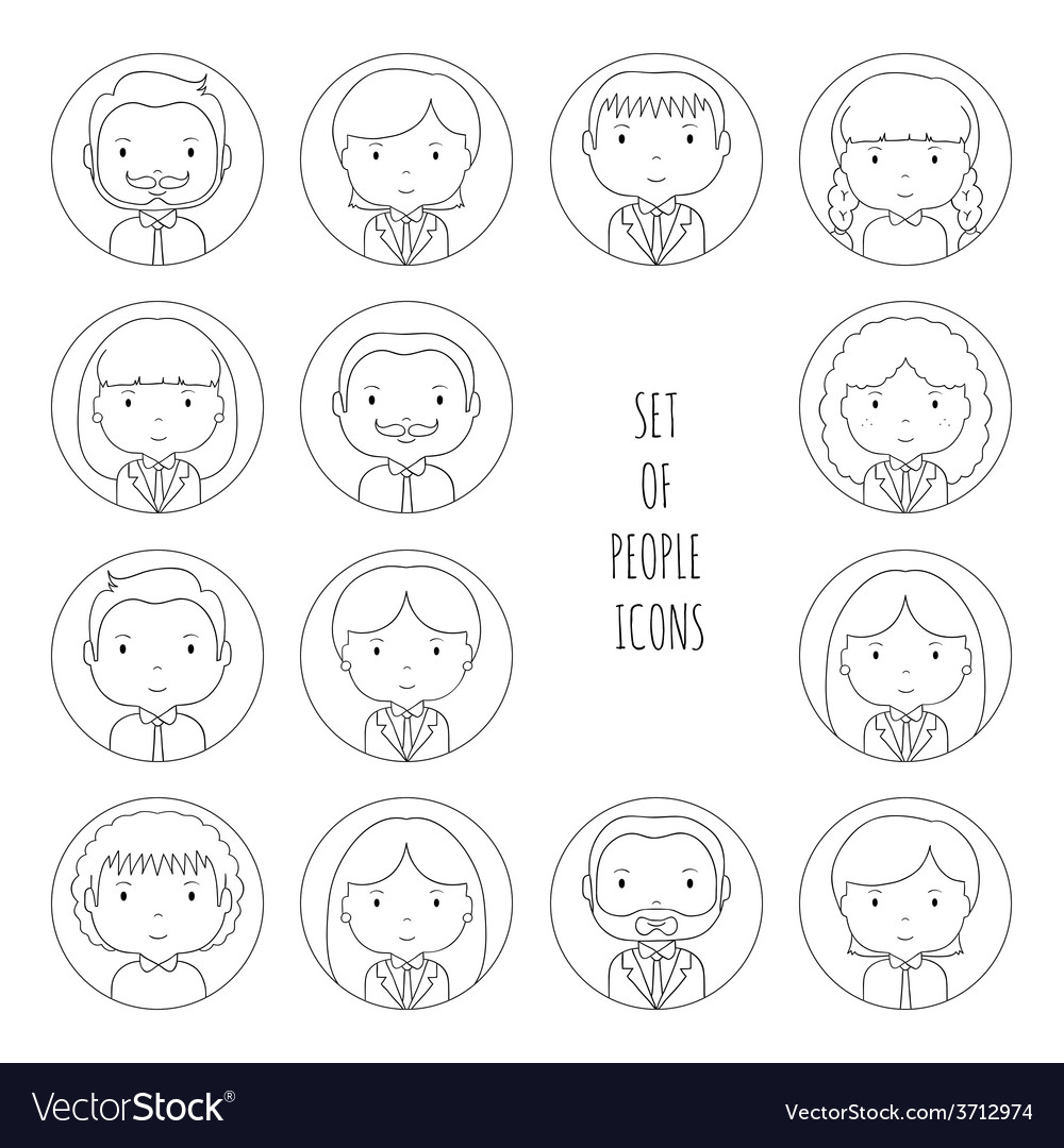 Set of line silhouette office people icons vector | Price: 1 Credit (USD $1)