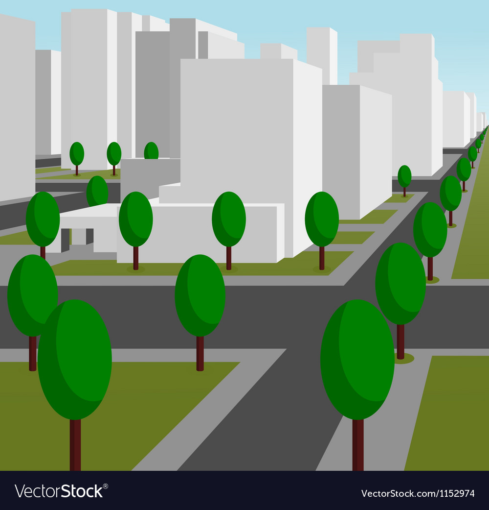Street in a modern city vector | Price: 1 Credit (USD $1)