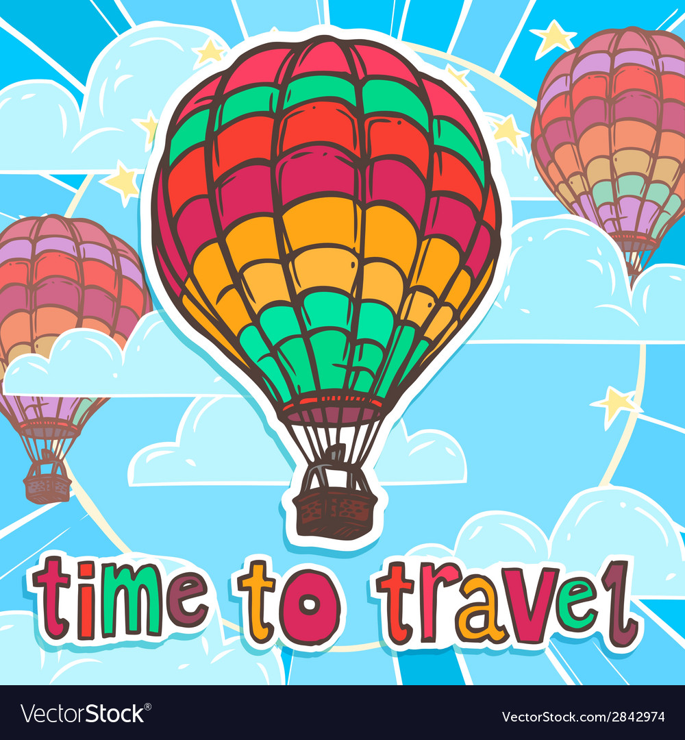 Travel poster with balloon vector