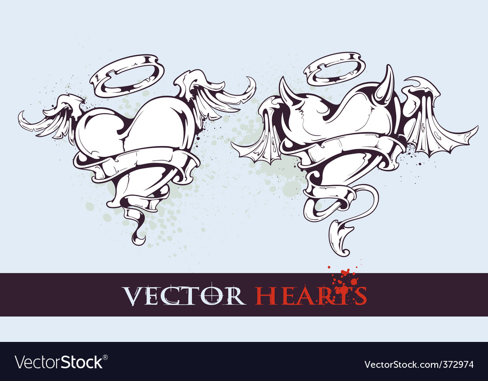 Two tattoo styled hearts vector | Price: 1 Credit (USD $1)