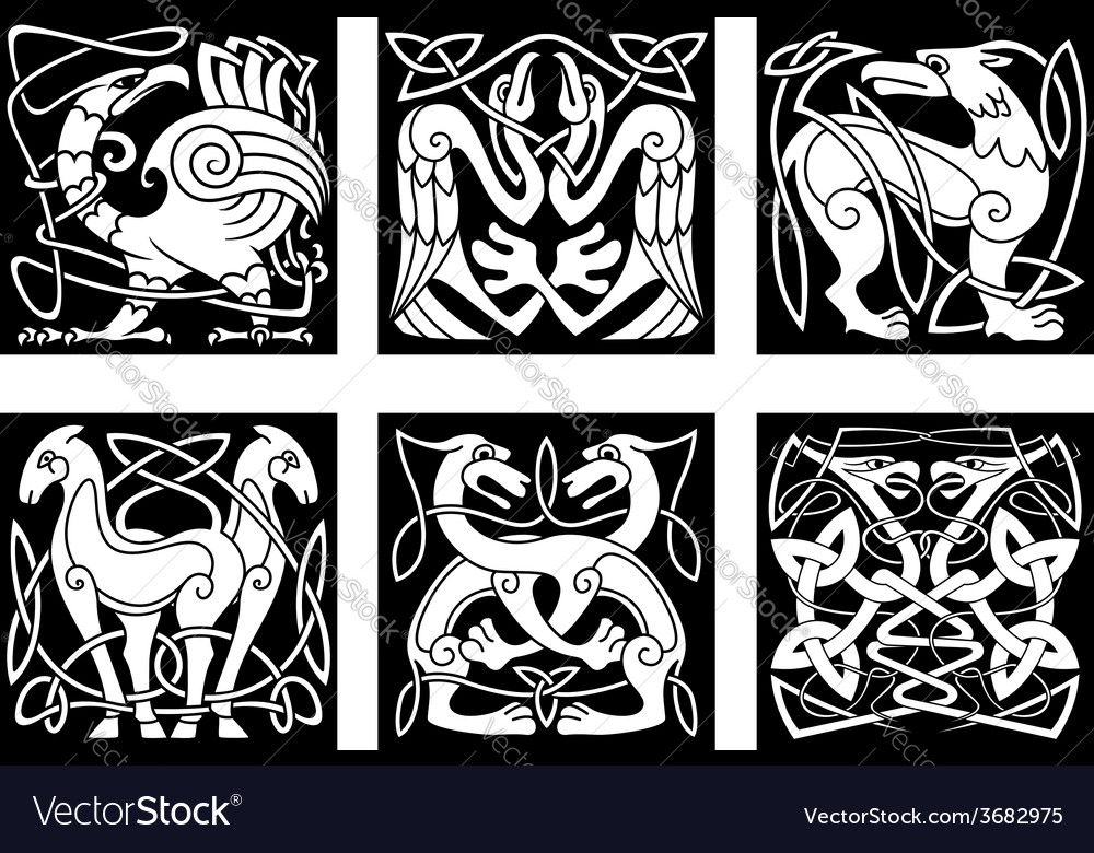 Abstract animals and birds in celtic style vector | Price: 1 Credit (USD $1)