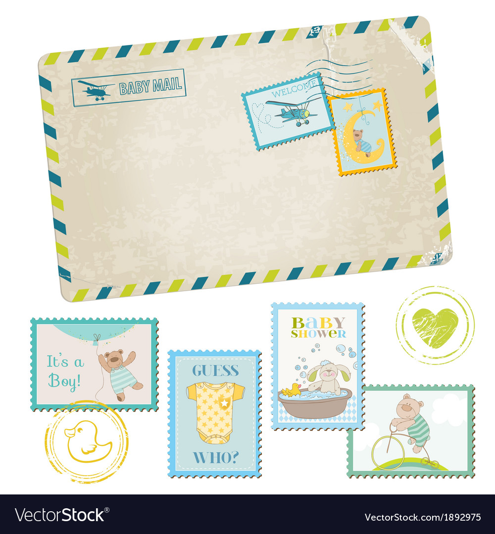 Baby shower or arrival postage stamps vector | Price: 1 Credit (USD $1)