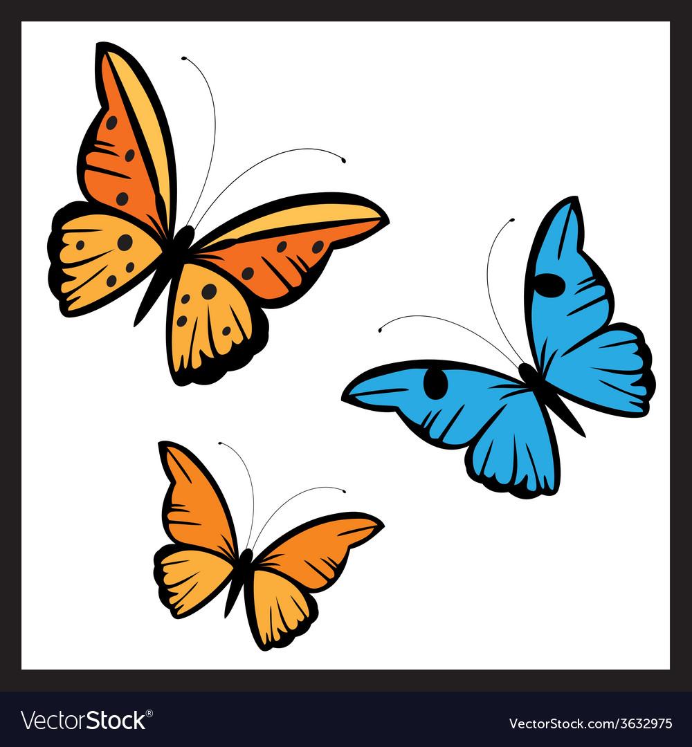 Butterflies in diferent colors vector   Price: 1 Credit (USD $1)