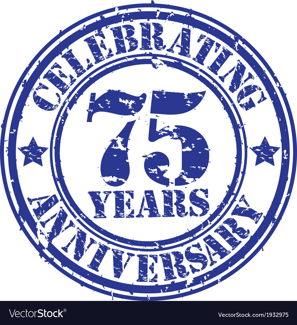 Celebrating 75 years anniversary grunge rubber st vector | Price: 1 Credit (USD $1)