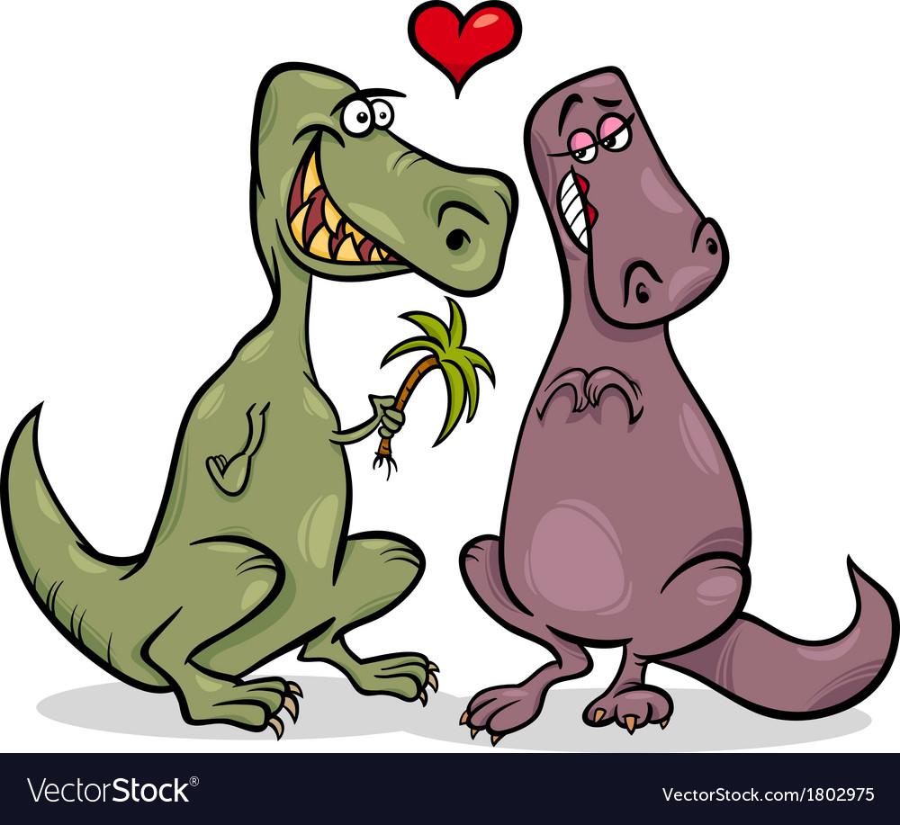 Dinos in love cartoon vector | Price: 1 Credit (USD $1)