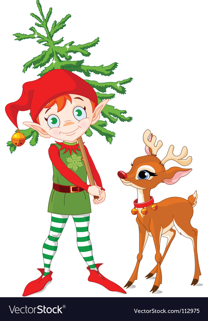 Elf and rudolf vector | Price: 3 Credit (USD $3)