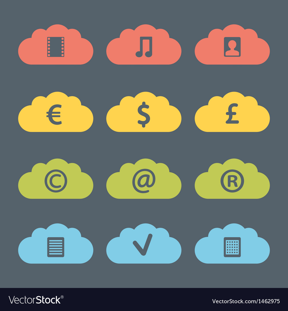 Flat clouds icon set vector | Price: 1 Credit (USD $1)