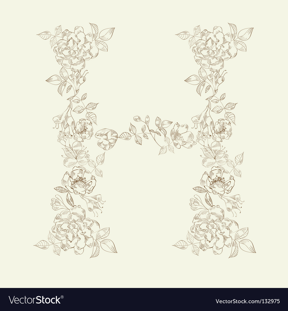 Floral font letter h vector | Price: 1 Credit (USD $1)
