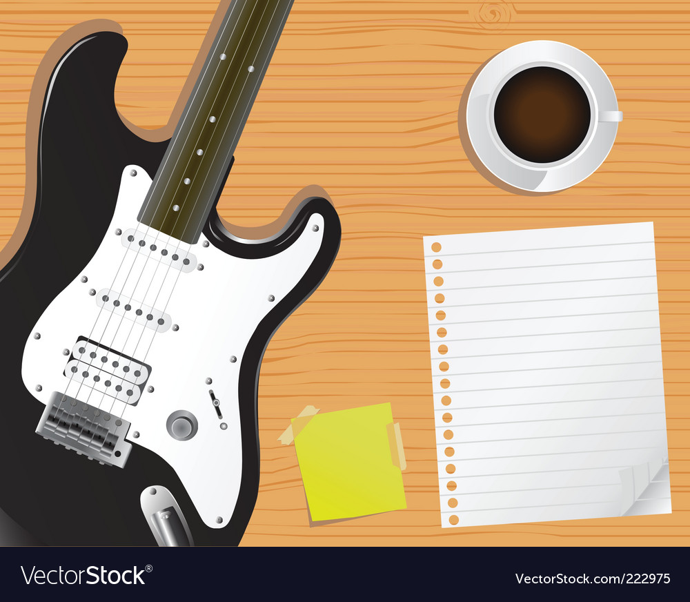 Guitar and notepaper vector | Price: 1 Credit (USD $1)
