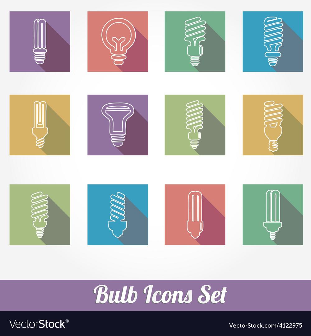 Light bulbs bulb icon set vector | Price: 1 Credit (USD $1)