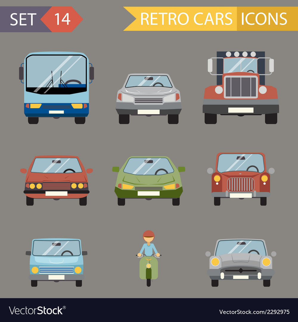 Modern flat design symbols stylish retro car icons vector | Price: 1 Credit (USD $1)