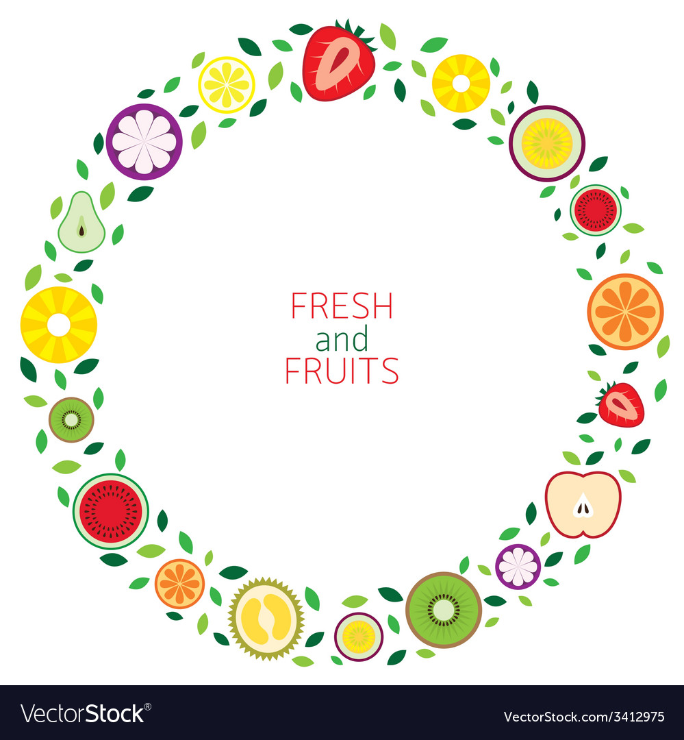 Piece of fruits wreath vector | Price: 1 Credit (USD $1)