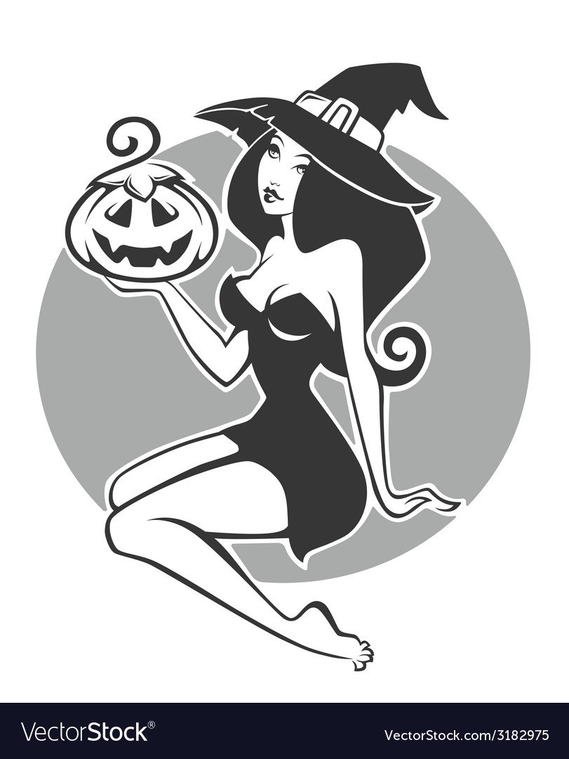 Pretty witch vector | Price: 1 Credit (USD $1)