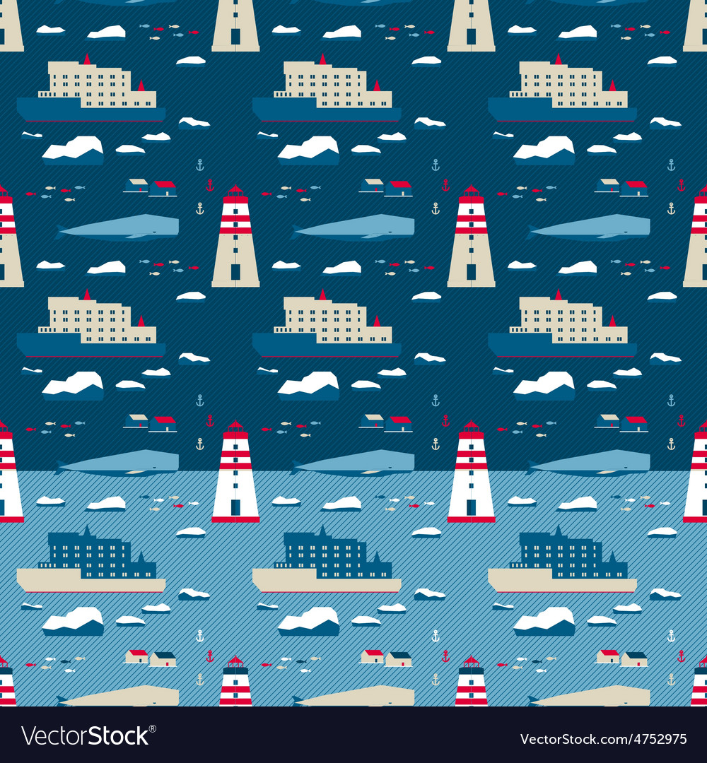 Seamless pattern whale and lighthouse vector | Price: 1 Credit (USD $1)