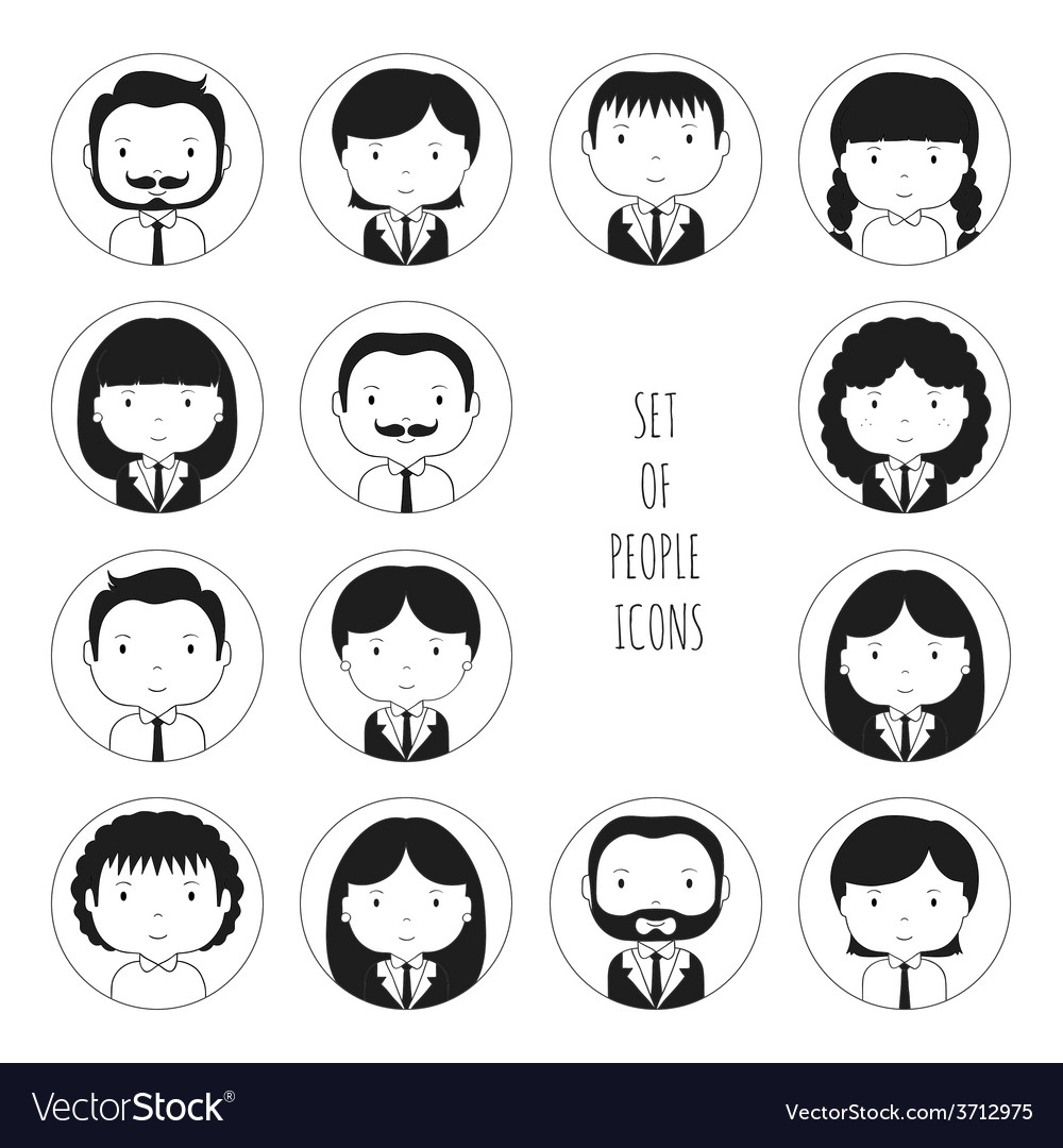Set of monochrome silhouette office people icons vector | Price: 1 Credit (USD $1)