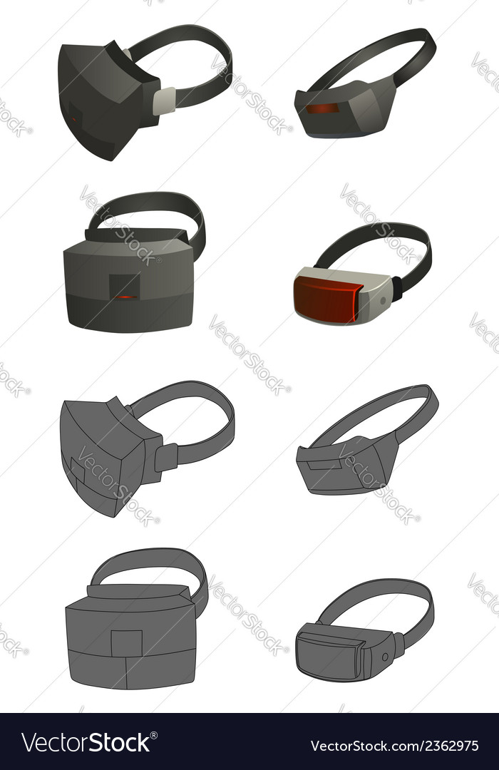 Set of virtual reality devices concepts vector | Price: 1 Credit (USD $1)