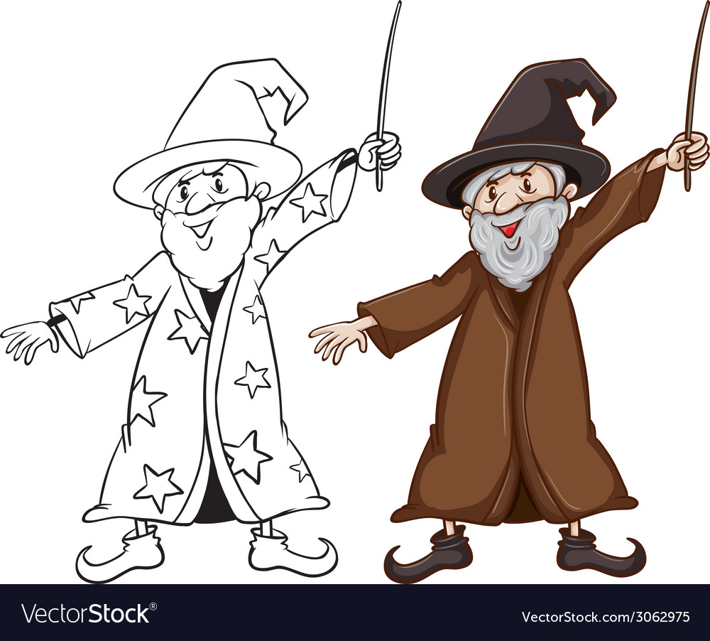 Sketches of a wizard in two colours vector | Price: 1 Credit (USD $1)