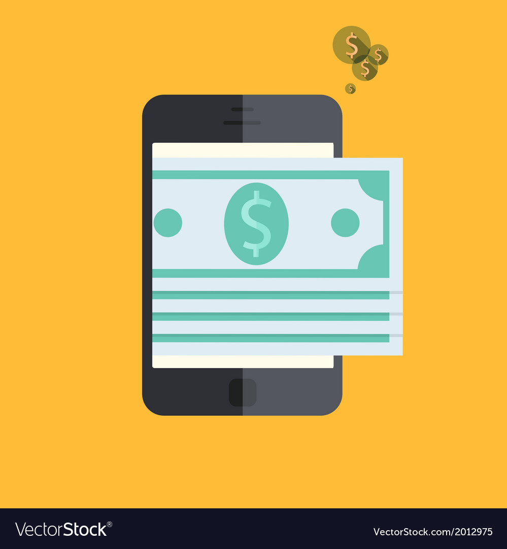 Smartphone with mobile payment on orange vector   Price: 1 Credit (USD $1)