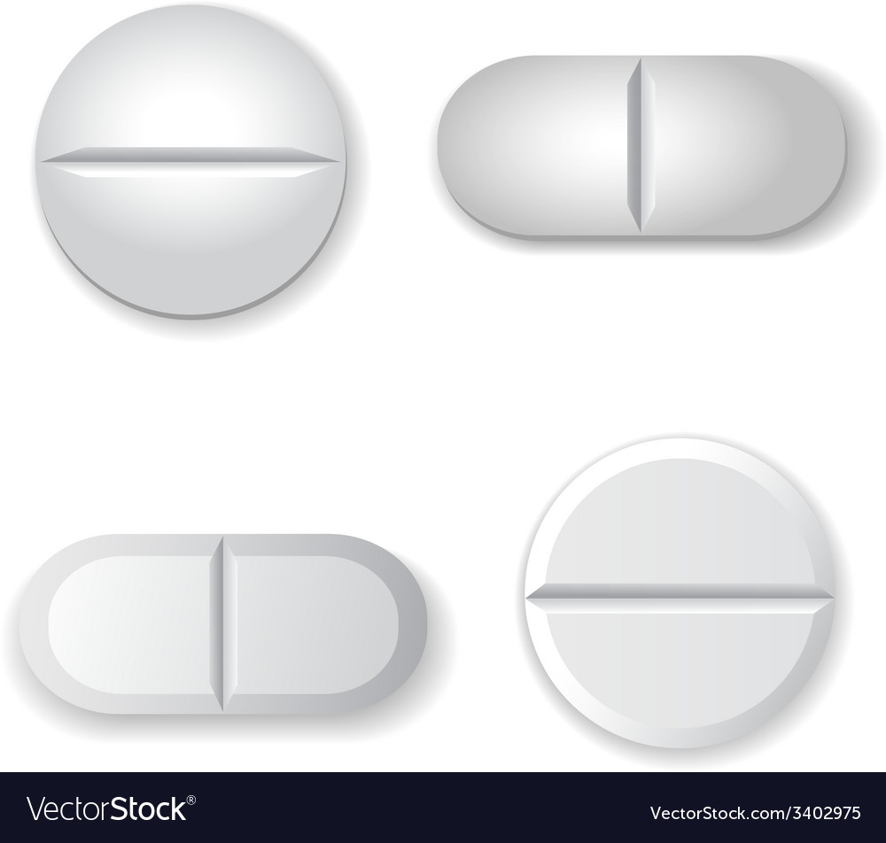 Tablets and pills set isolated on white background vector | Price: 1 Credit (USD $1)