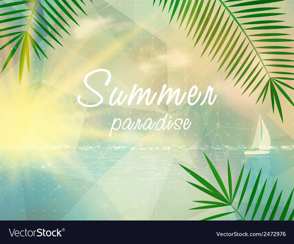 Abstract seaside view poster template vector | Price: 1 Credit (USD $1)