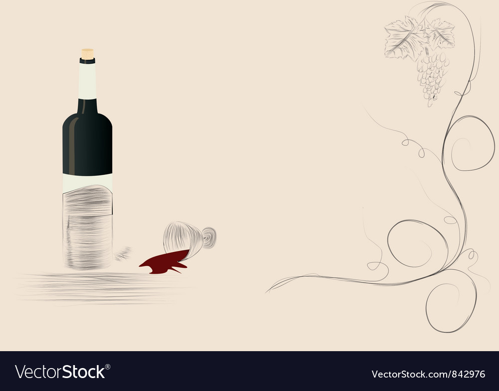Bottle wine spilt red wine background vector | Price: 1 Credit (USD $1)