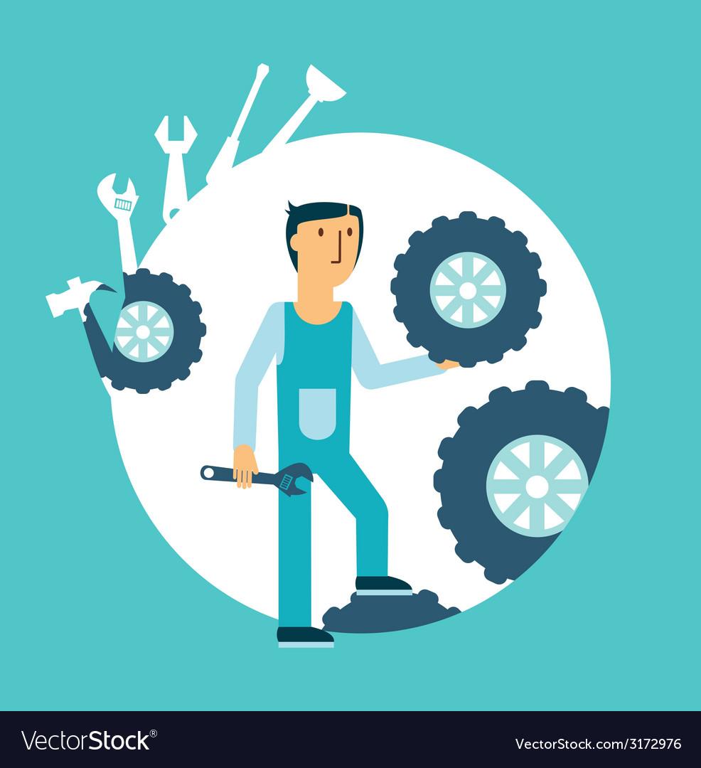 Fitter repairing wheels vector | Price: 1 Credit (USD $1)