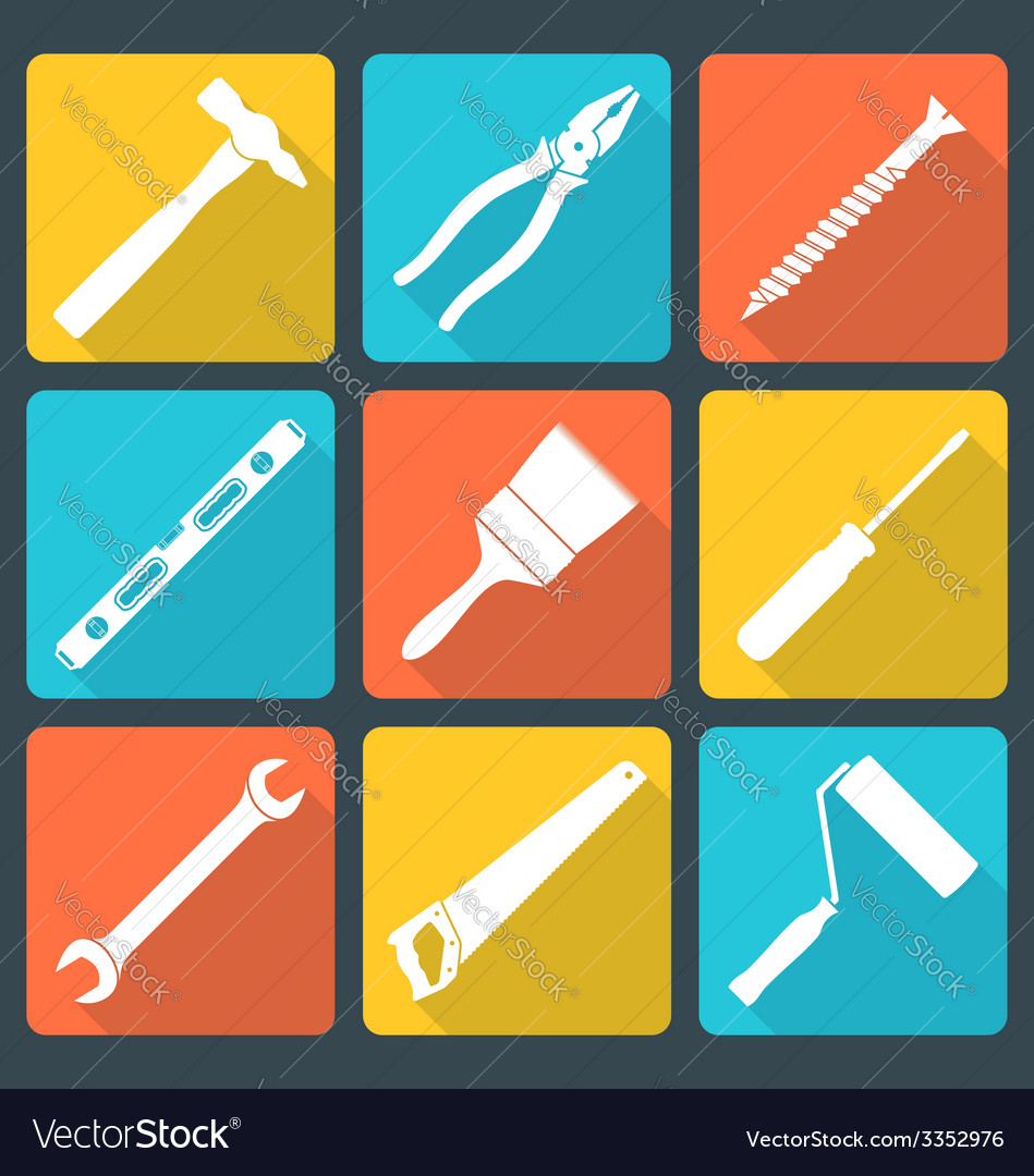 Flat white house remodel tools icons vector | Price: 1 Credit (USD $1)