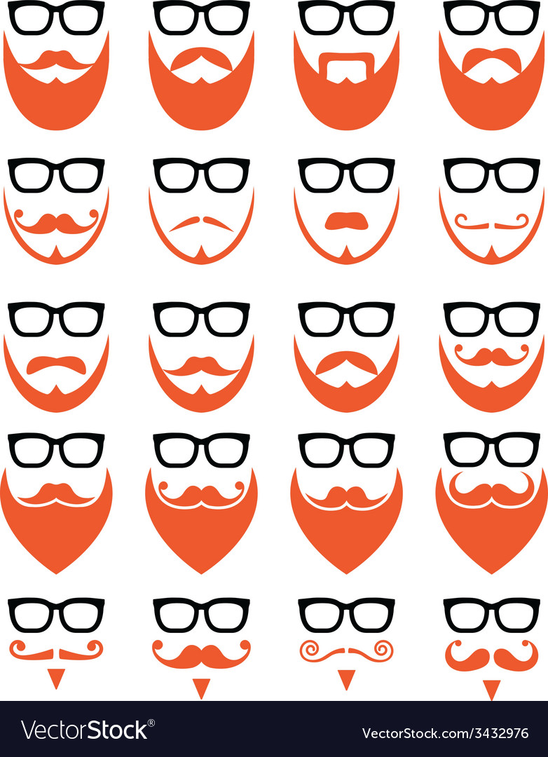 Ginger beard and glasses hipster icons set vector | Price: 1 Credit (USD $1)
