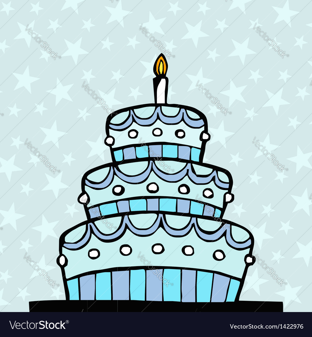 Light blue birthday cake vector | Price: 1 Credit (USD $1)