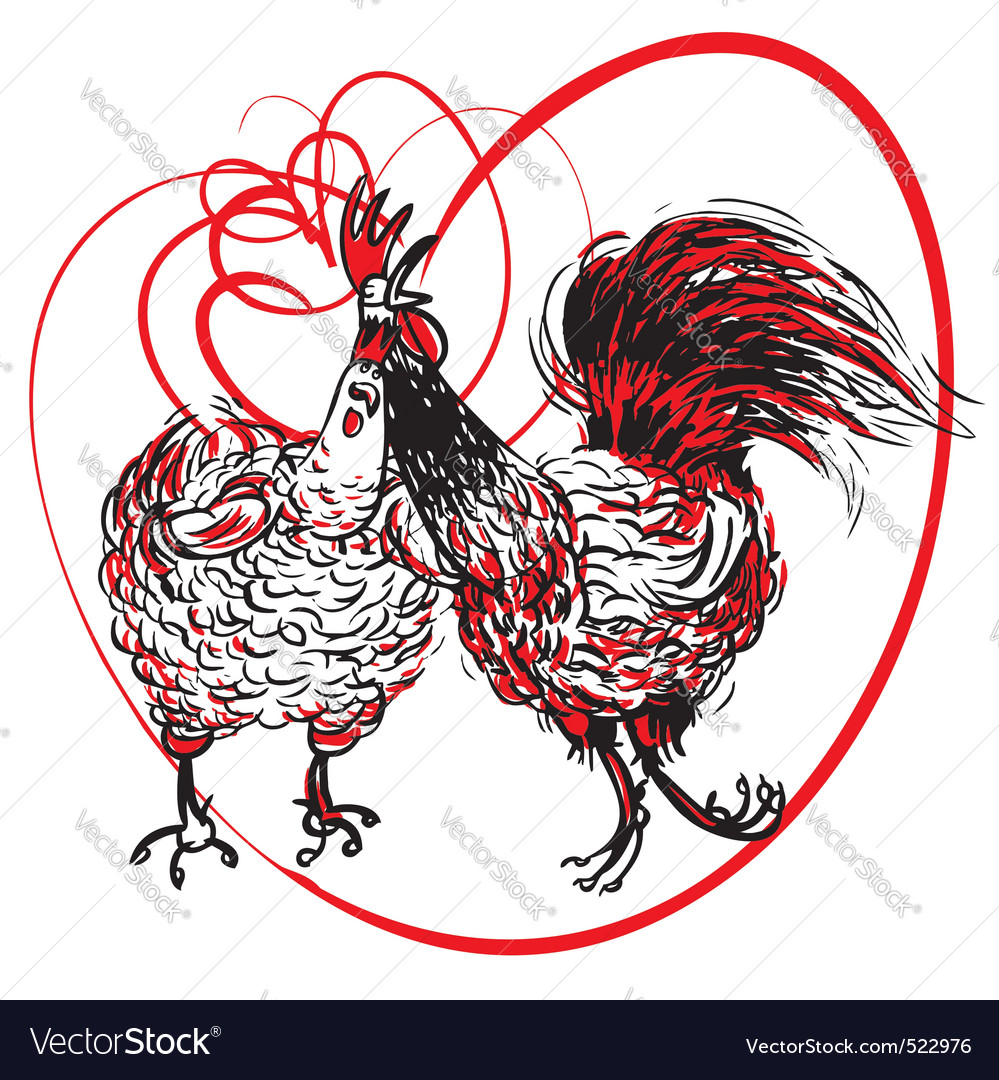 Love the cock and hen vector | Price: 1 Credit (USD $1)