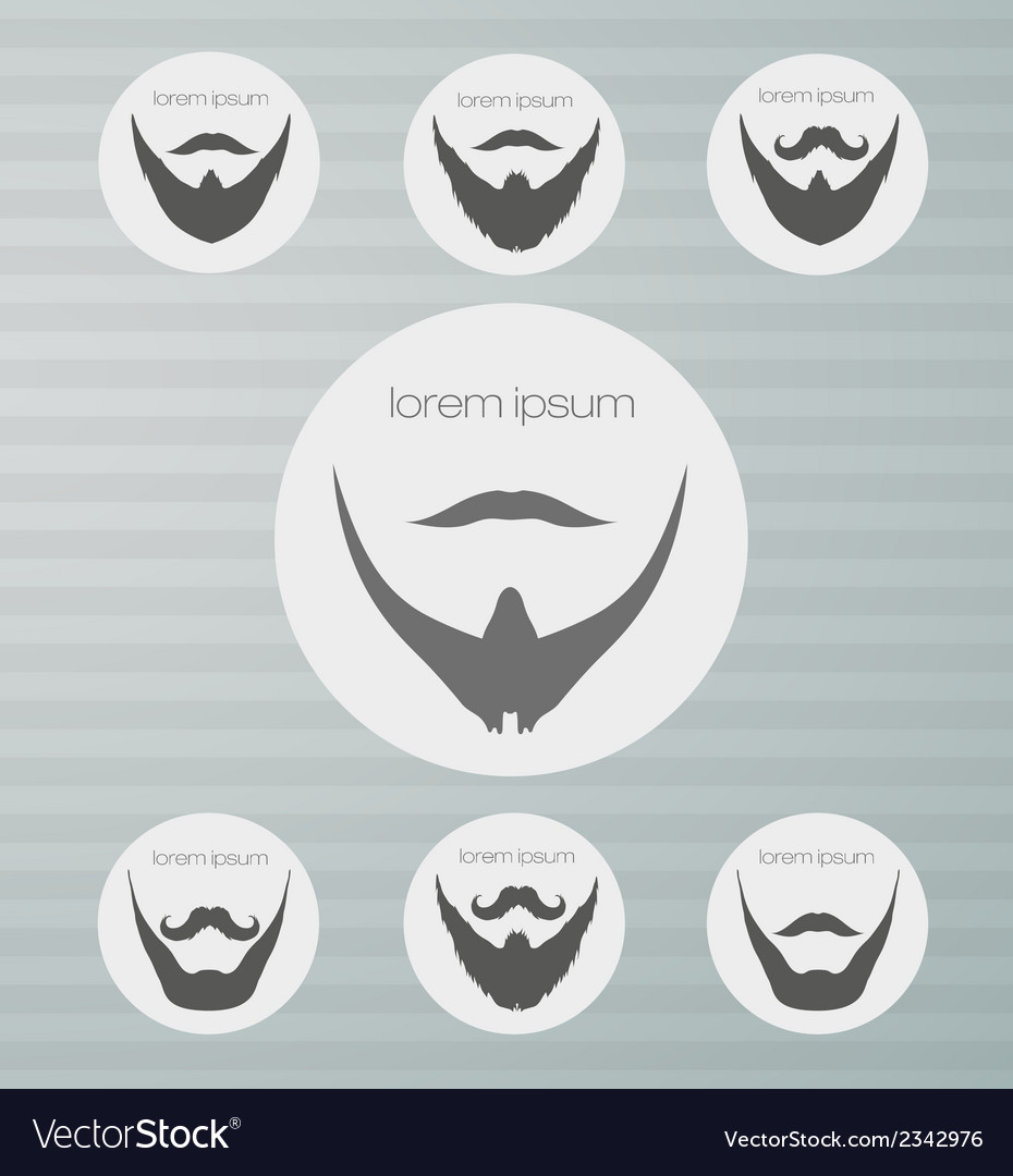 Round icons beard with mustache vector | Price: 1 Credit (USD $1)