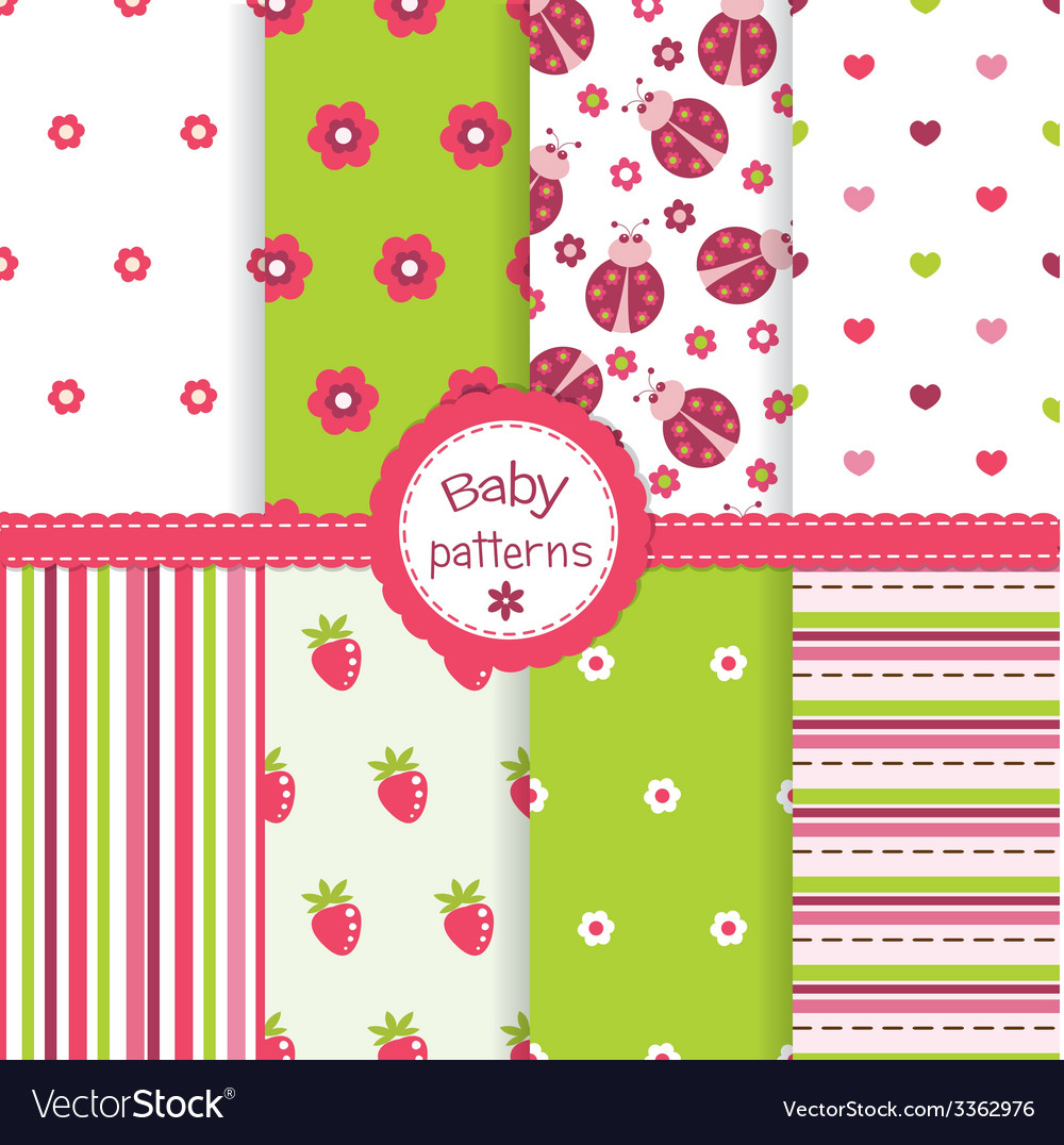 Set of baby patterns vector