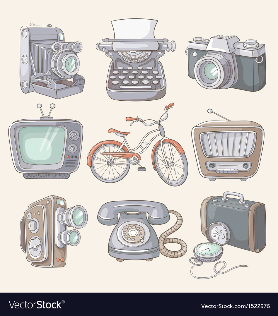 Set of vintage items icons vector | Price: 3 Credit (USD $3)