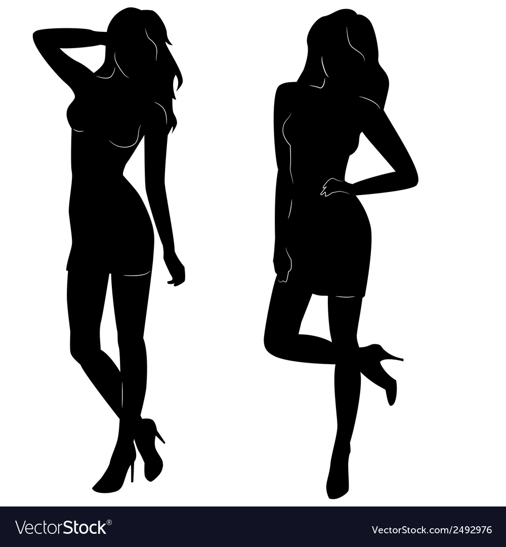 Sexy woman silhouettes in short dresses vector | Price: 1 Credit (USD $1)