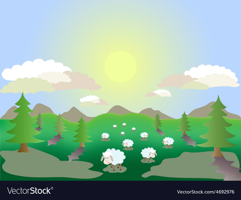 Sheep in the meadow vector | Price: 1 Credit (USD $1)