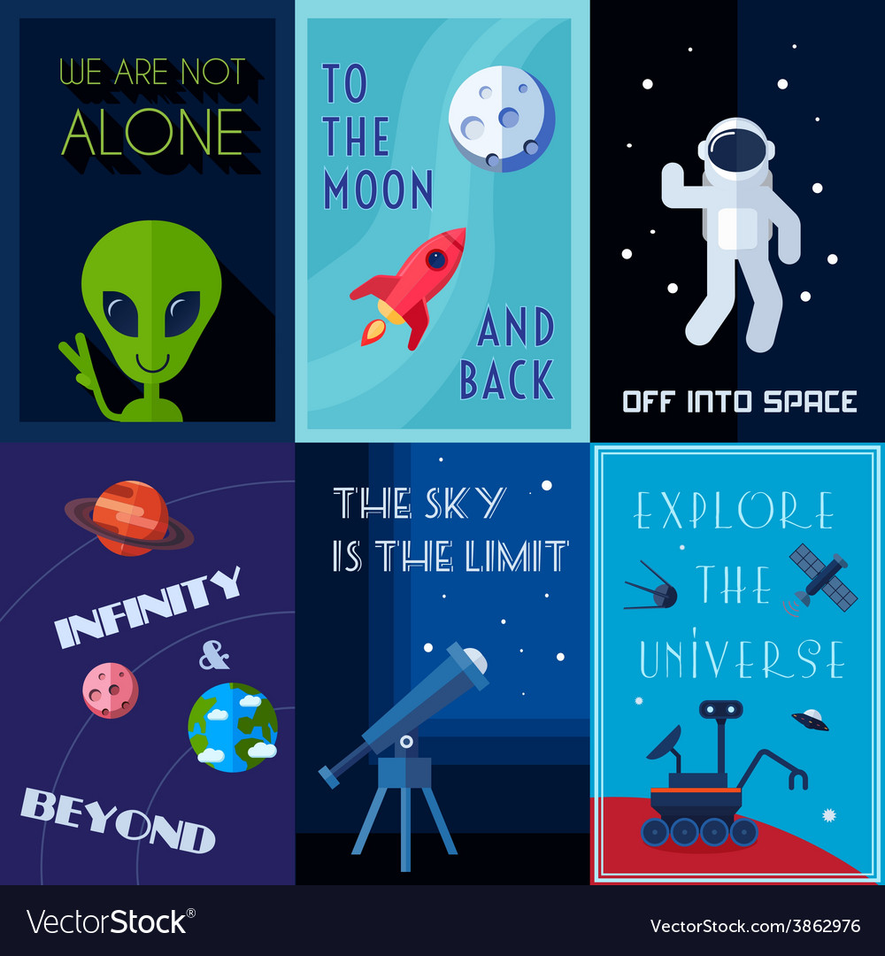 Space poster set vector | Price: 1 Credit (USD $1)